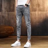 牛仔褲 牛仔褲 夏季薄款牛仔褲男夏天潮牌修身小腳潮流長褲男士休閒九分褲子