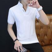 t恤男短袖棉質潮流男裝半袖體恤加大碼白色上衣服男士v領POLO衫【寶貝開學季】