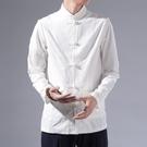 促銷 中國風唐裝襯衫男士長袖秋季白襯衣中式古裝漢服大碼潮流復古上衣