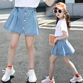 女童短裙 女童半身裙夏天2020新款韓版洋氣兒童牛仔裙夏季中大童百褶短裙子