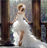 禮服2018新款時尚前短后長婚紗 韓版公主拖尾顯廋新娘結婚紗 LI1958『伊人雅舍』