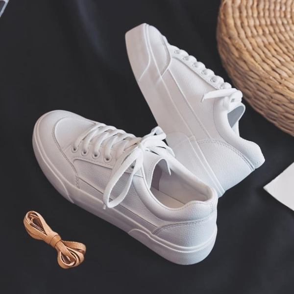 皮面小白鞋女2020年新款秋冬加絨爆款百搭平底白鞋網紅洋氣板鞋子 【端午節特惠】