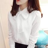 雪紡襯衫女長袖韓版寬鬆氣質洋氣小衫女秋季百搭時尚蝴蝶結上衣女  茱莉亞