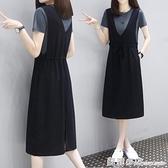 中長款背帶裙子時尚休閒純棉連身裙女2021夏裝新款寬鬆顯瘦兩件套 蘇菲小店