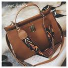 側背包-彩色織帶柏金包風格手提包斜背包 (SBA0287) AngelNaNa