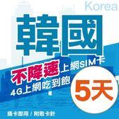 韓國上網卡 5日 不限流量不降速 4G上網 吃到飽上網SIM卡