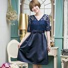 中尺碼*V領蕾絲拼接綢緞名媛小洋裝禮服~美之札