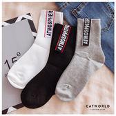Catworld 文字車標坑條棉質長襪【18900365】‧F 特價