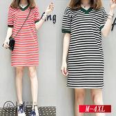 寬鬆中長款V領條紋針織時尚連衣裙 M-4XL O-Ker歐珂兒 147119-C