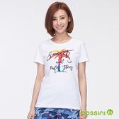 印花短袖T恤34白-bossini女裝
