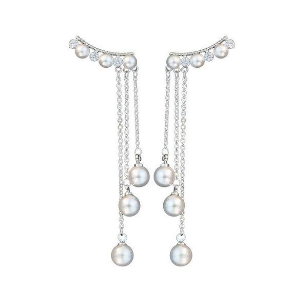 正韓 名媛風垂墜微鑲鋯石珍珠 925銀針 耳環