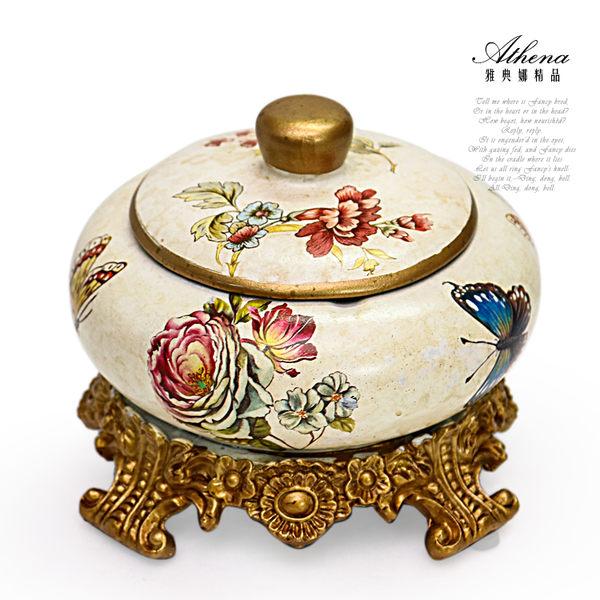 【雅典娜家飾】蝴蝶牡丹圓形有蓋陶瓷煙灰缸-EJ15