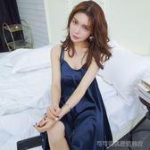 空露背睡裙性感吊帶裙睡衣女夏季高檔絲綢韓版V領歐美清涼家居裙  Cocoa