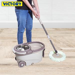 【VICTORY】日式免沾手瀝水乾濕兩用帶輪拖把組(1桶1拖4布)