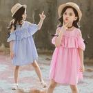 *╮小衣衫S13╭*中大童夏款豎條紋甜美小露肩連身裙洋裝1090410