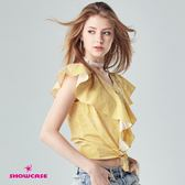 【SHOWCASE】俏麗V領短版荷葉袖襯衫(黃)