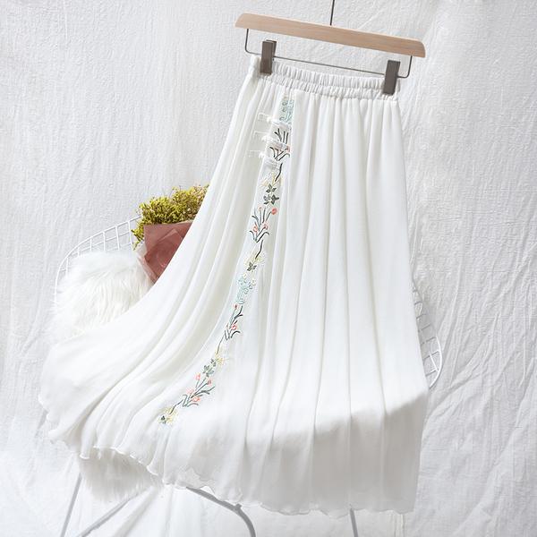 很仙的半身裙子女夏 中國風刺繡花文藝複古雪紡白紗裙高腰a字長裙