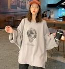 EASON SHOP(GW7565)實拍黑人驚訝側開衩下襬不收邊捲邊長版OVERSIZE落肩寬鬆寬袖長袖素色棉T恤裙