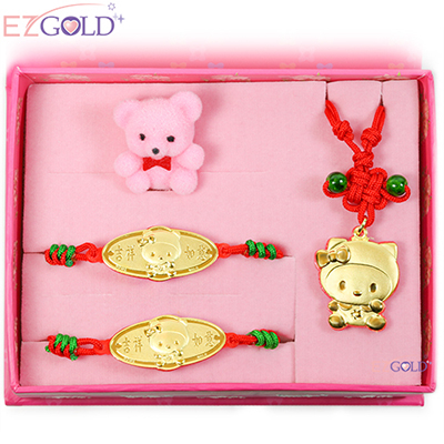 EZGOLD-kiki帽天使-彌月金飾禮盒 (0.30錢)