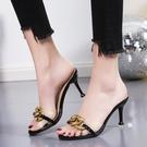 高跟拖鞋 拖鞋女時尚外穿半拖2021夏季新款性感小仙女透明高跟涼鞋細跟百搭