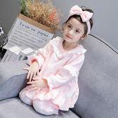 兒童睡衣 女童春秋款珊瑚絨家居服寶寶法蘭絨長袖公主睡衣兒童純棉套裝
