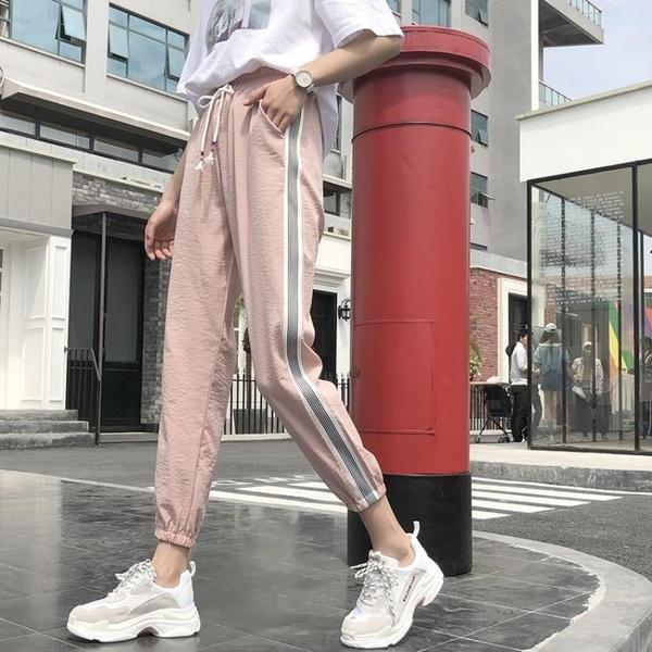快速出貨 hiphop褲子新休閒原宿bf風運動褲女學生潮寬鬆ins束腳褲