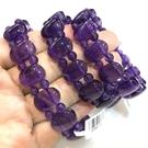 天然紫水晶橢圓扁形手排 搭配紫晶圓珠~早期商品亮透度超棒~特級品