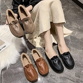 棉拖鞋 毛毛鞋女外穿2021年春夏季新款加絨時尚一腳蹬厚底豆豆鞋淺口棉鞋【快速出貨八折搶購】