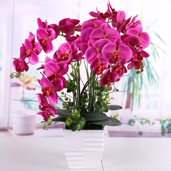 【年終】全館大促蝴蝶蘭仿真花 客廳擺設裝飾花藝絹花插花假花卉仿真蝴蝶蘭盆栽