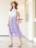 單一優惠價[H2O]蕾絲內襯外兩層紗大裙襬長紗裙 - 黃/紫/灰色 #9672020