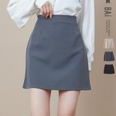 褲裙 純色款!視覺顯瘦車線後拉鍊A字短裙M-L號-BAi白媽媽【301733】