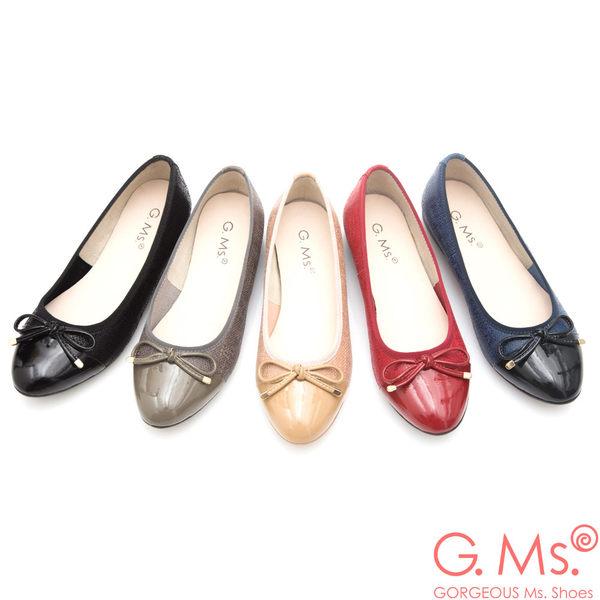 G.Ms. MIT系列-漆皮拼接牛皮蝴蝶結娃娃鞋*寶藍