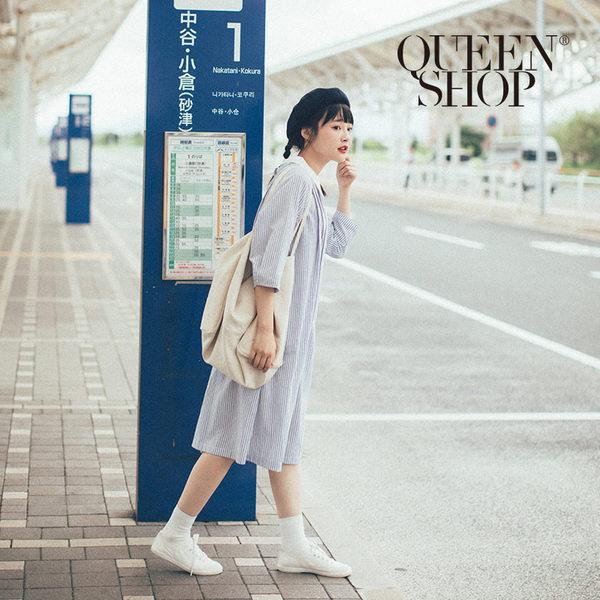 Queen Shop【01084646】後排釦造型條紋洋裝*現+預*
