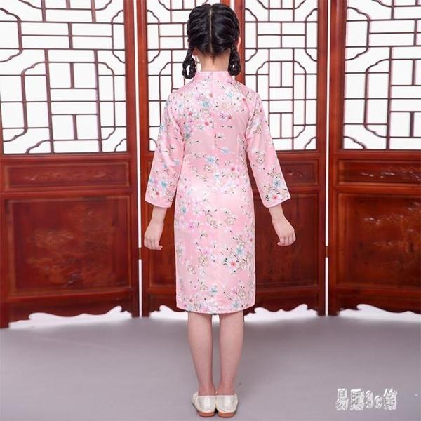 女童旗袍 2019秋裝新款長袖中式中小大童唐裝連身裙女童洋氣洋裝 YN1800『易購3c館』