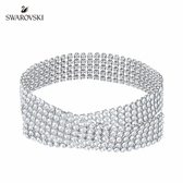 施華洛世奇 Fit 鍍鈀色水晶網布頸鏈