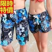 情侶款海灘褲(單件)-防水衝浪藍色花朵蘊含質感男女短褲66z27【時尚巴黎】