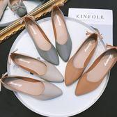 四季豆豆鞋平底奶奶鞋韓版百搭尖頭淺口套腳鞋蝴蝶結軟底豆豆鞋單鞋