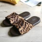品味系列-布面皮質室內拖鞋-奢華淺豹