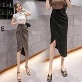 不規則半身裙2021春夏新款時尚氣質包臀裙中長款高腰開叉一步裙女 快速出貨