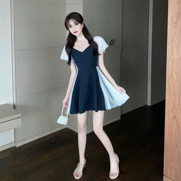 大尺碼女裝大碼胖mm洋氣泫雅風仙女裙夏季胖妹妹氣質收腰顯瘦V領網紗連衣裙