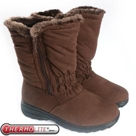 【女 中筒刷毛雪靴 咖啡】 SN192/中筒保暖雪靴/雪鞋/冰爪