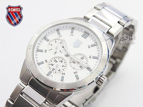 【完全計時】手錶館│KSWISS 經典時尚款 魅力自信運動腕錶 93-0095-501 三眼顯示 白