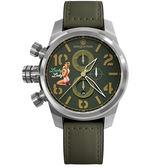 elegantsis JF48QS機頭藝術-女郎計時手錶-綠