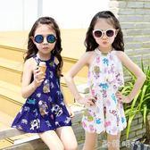 女童泳衣大中小童韓版兒童泳衣女孩連身裙式平角溫泉泳衣  ◣歐韓時代◥