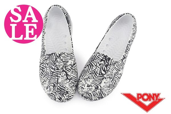 PONY水鞋 中童 親子鞋 Tropic 斑馬紋 洞洞鞋 防水 洞洞鞋 水陸鞋 J9477#黑白◆OSOME奧森童鞋 零碼出清