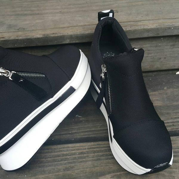 【Fabulous!!】(A08)內增高雙拉鍊休閒鞋 黑色