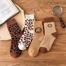 冬季保暖加厚女士豹紋波點笑臉毛圈襪中筒襪子女