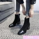 中跟粗跟短靴女鞋秋冬網紅瘦瘦單靴百搭高跟春秋馬丁靴ins潮 裝飾界
