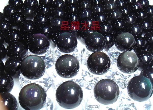 雙面彩虹黑曜石球 22mm3A級*墨西哥當地精緻研磨~又黑又亮