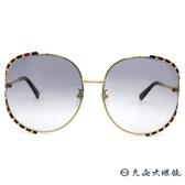 GUCCI 太陽眼鏡 GG0595S (金-黑紅) 2019 珊瑚蛇系列 金屬圓框 墨鏡 久必大眼鏡